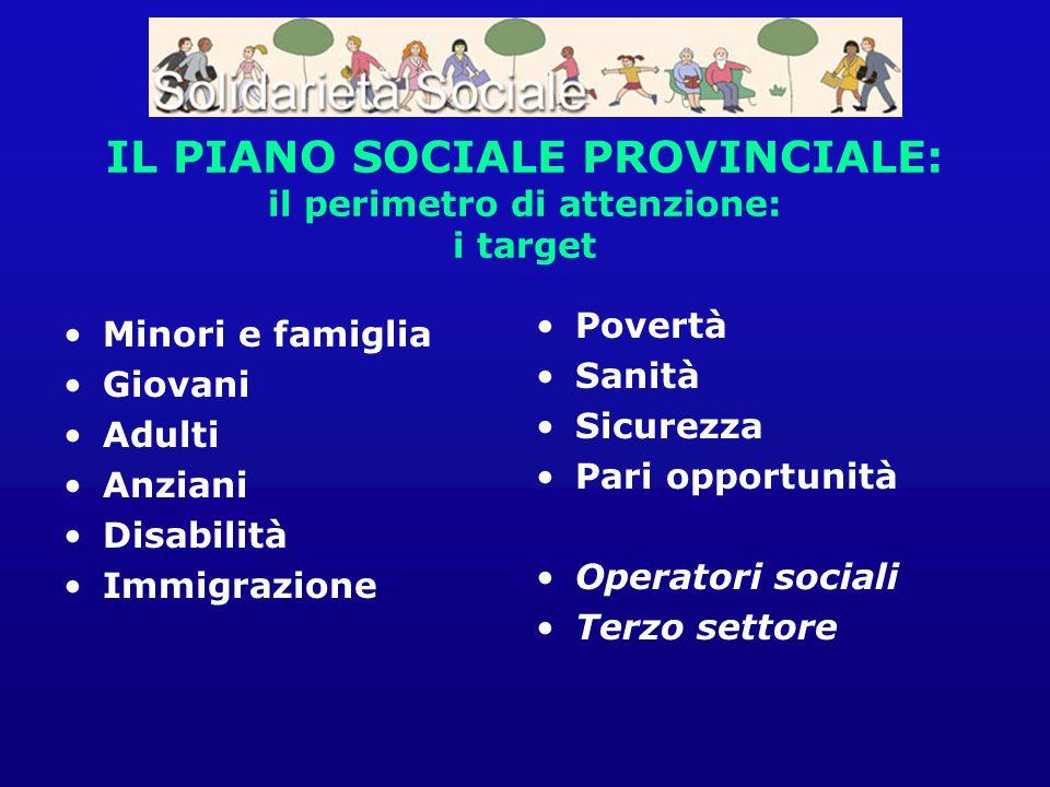 IL PIANO SOCIALE PROVINCIALE: il perimetro di attenzione: i target Minori e famiglia Giovani Adulti Anziani Disabilità Immigrazione Povertà Sanità Sic