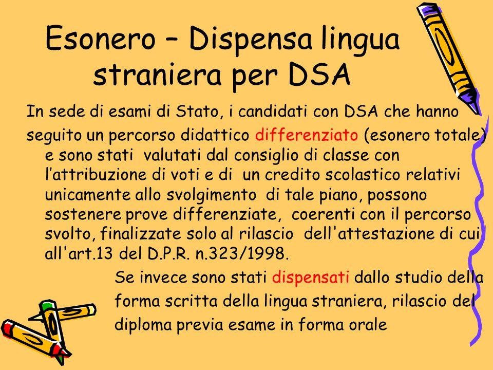 Esonero – Dispensa lingua straniera per DSA In sede di esami di Stato, i candidati con DSA che hanno seguito un percorso didattico differenziato (eson