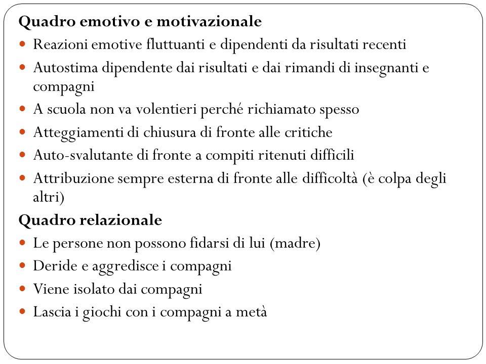 Quadro emotivo e motivazionale Reazioni emotive fluttuanti e dipendenti da risultati recenti Autostima dipendente dai risultati e dai rimandi di inseg