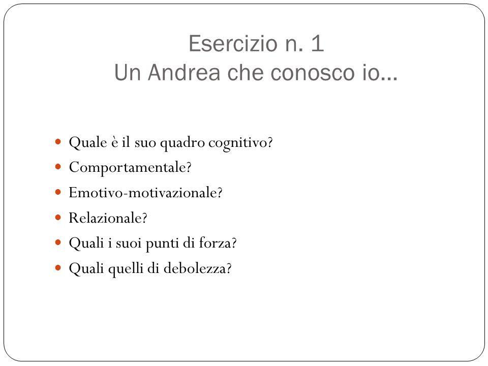 Esercizio n. 1 Un Andrea che conosco io… Quale è il suo quadro cognitivo? Comportamentale? Emotivo-motivazionale? Relazionale? Quali i suoi punti di f