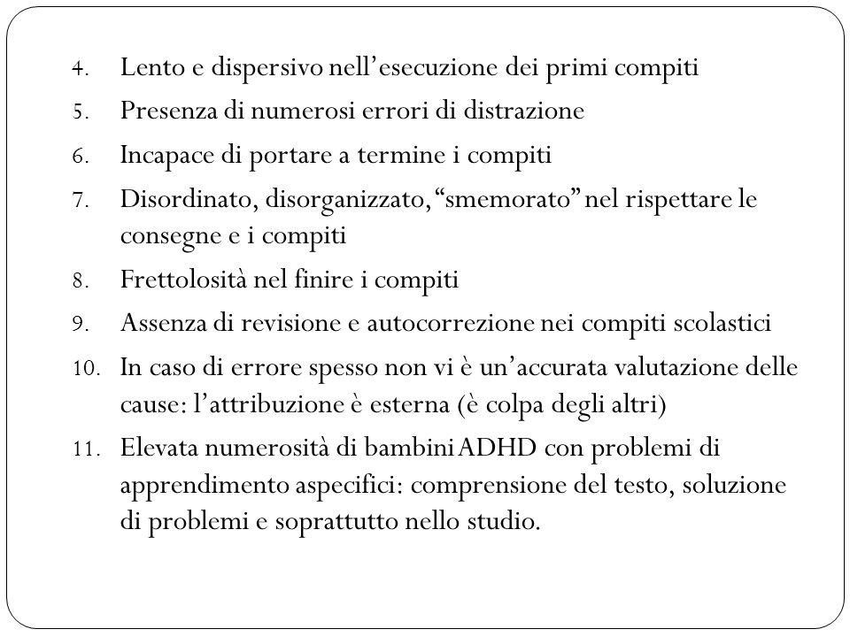 4. Lento e dispersivo nell'esecuzione dei primi compiti 5. Presenza di numerosi errori di distrazione 6. Incapace di portare a termine i compiti 7. Di