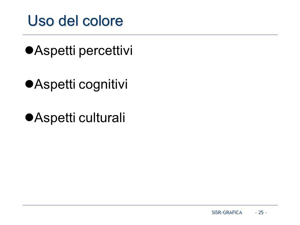 - 25 - Uso del colore Aspetti percettivi Aspetti cognitivi Aspetti culturali SISR-GRAFICA