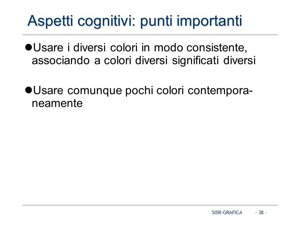 - 38 - Aspetti cognitivi: punti importanti SISR-GRAFICA Usare i diversi colori in modo consistente, associando a colori diversi significati diversi Us