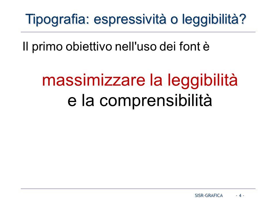 - 4 - Tipografia: espressività o leggibilità? Il primo obiettivo nell'uso dei font è massimizzare la leggibilità e la comprensibilità SISR-GRAFICA