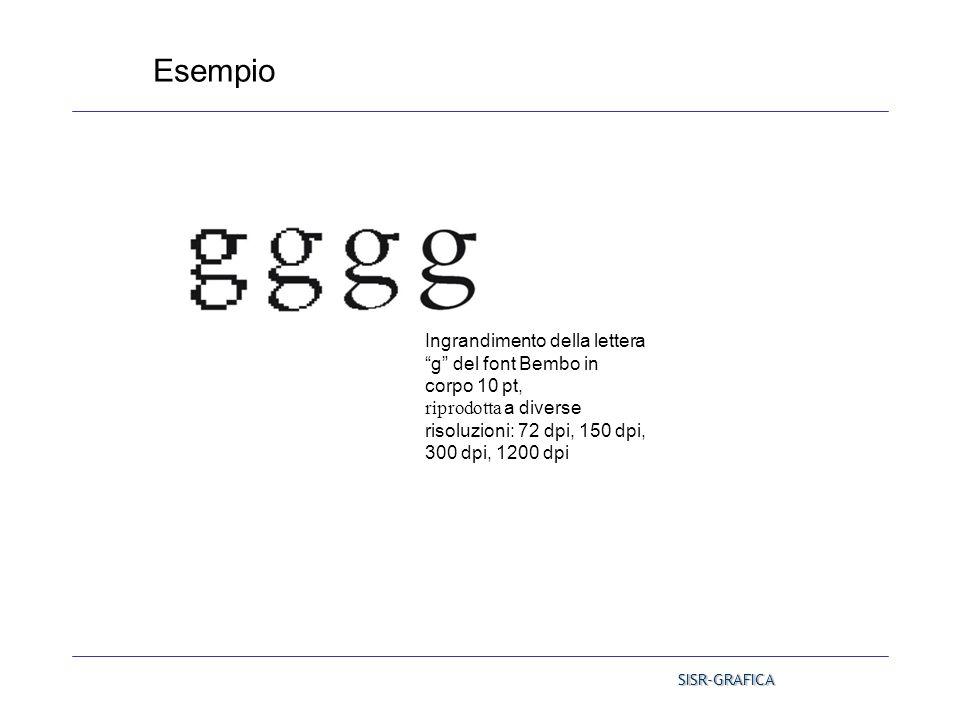"""Esempio Ingrandimento della lettera """"g"""" del font Bembo in corpo 10 pt, riprodotta a diverse risoluzioni: 72 dpi, 150 dpi, 300 dpi, 1200 dpi SISR-GRAFI"""