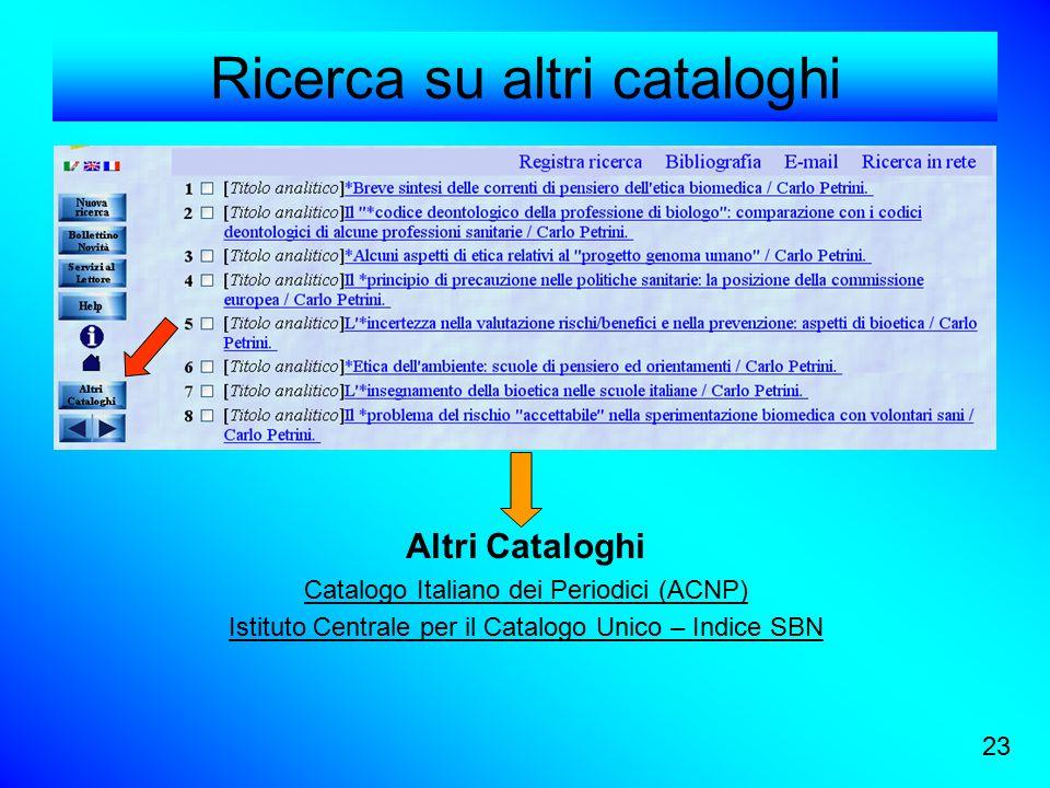 Ricerca su altri cataloghi Altri Cataloghi Catalogo Italiano dei Periodici (ACNP) Istituto Centrale per il Catalogo Unico – Indice SBN 23
