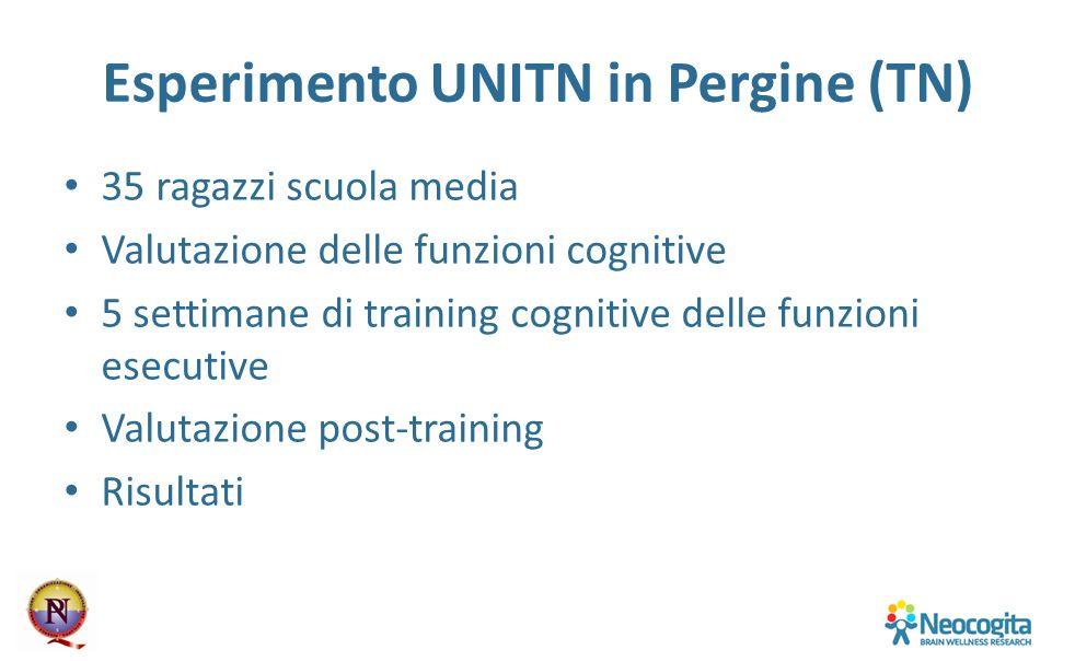 Esperimento UNITN in Pergine (TN) 35 ragazzi scuola media Valutazione delle funzioni cognitive 5 settimane di training cognitive delle funzioni esecut