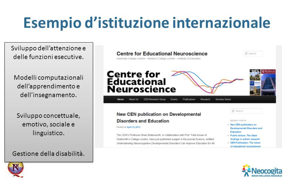 Esempio d'istituzione internazionale Sviluppo dell'attenzione e delle funzioni esecutive. Modelli computazionali dell'apprendimento e dell'insegnament