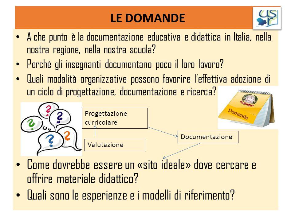 LE DOMANDE A che punto è la documentazione educativa e didattica in Italia, nella nostra regione, nella nostra scuola? Perché gli insegnanti documenta