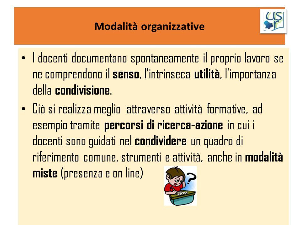 Modalità organizzative I docenti documentano spontaneamente il proprio lavoro se ne comprendono il senso, l'intrinseca utilità, l'importanza della con