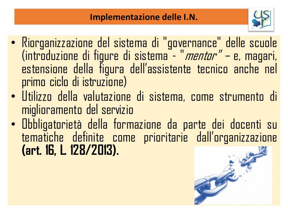 Implementazione delle I.N. Riorganizzazione del sistema di