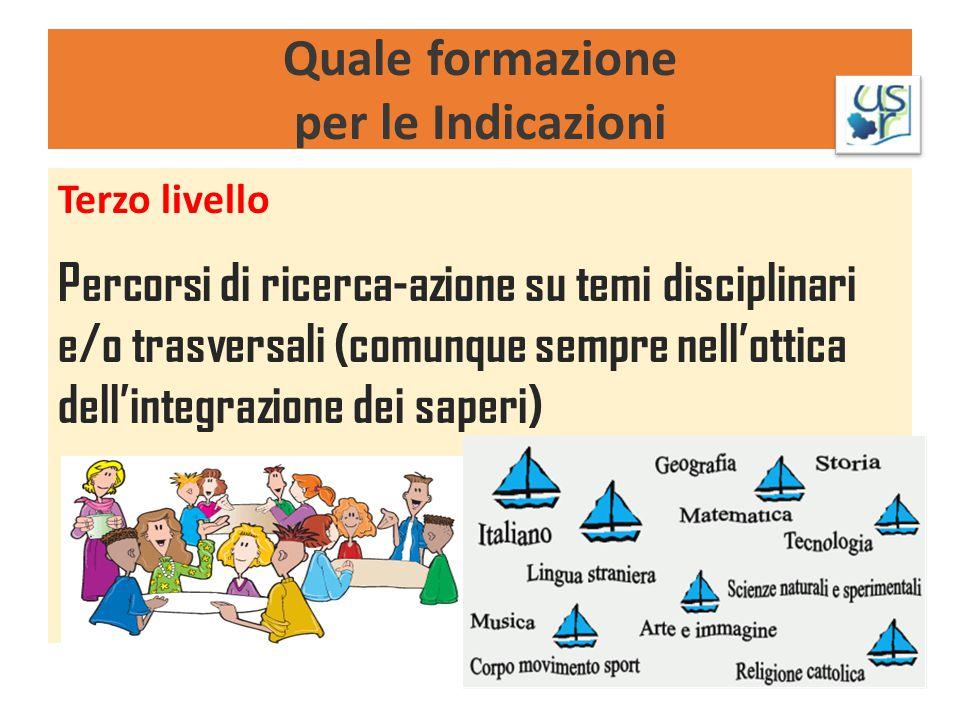 Quale formazione per le Indicazioni Terzo livello Percorsi di ricerca-azione su temi disciplinari e/o trasversali (comunque sempre nell'ottica dell'in