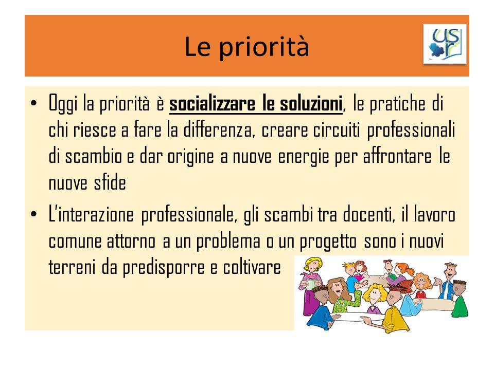 Le priorità Oggi la priorità è socializzare le soluzioni, le pratiche di chi riesce a fare la differenza, creare circuiti professionali di scambio e d