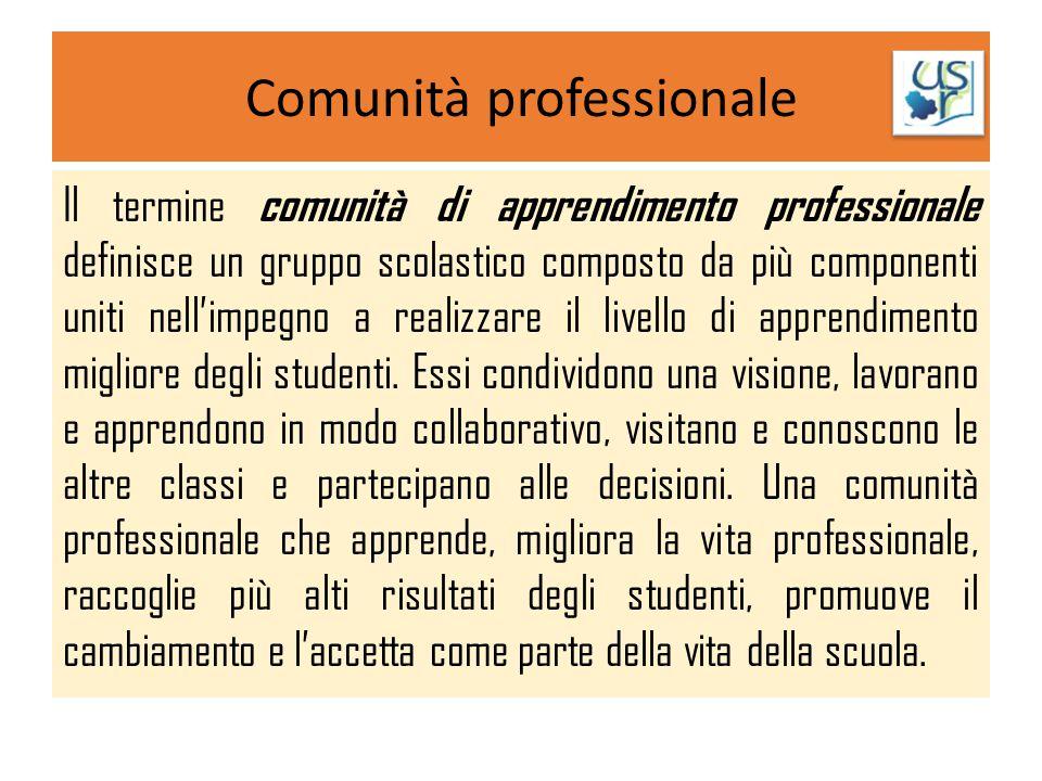 Comunità professionale Il termine comunità di apprendimento professionale definisce un gruppo scolastico composto da più componenti uniti nell'impegno