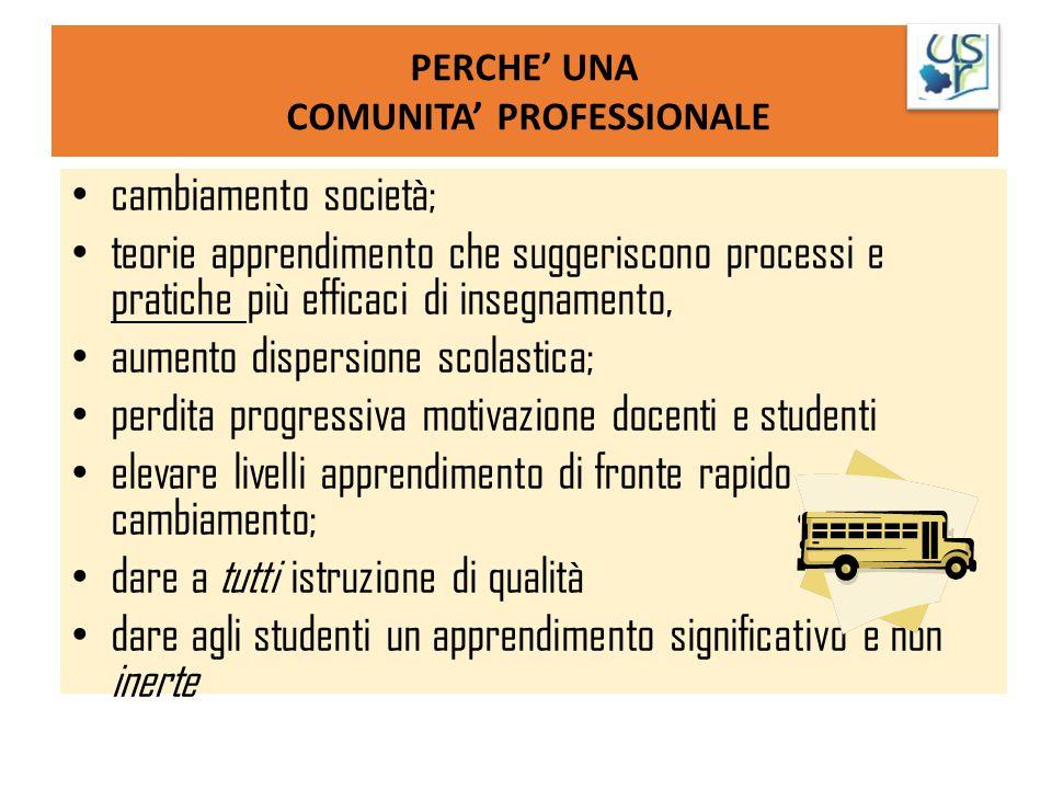 PERCHE' UNA COMUNITA' PROFESSIONALE cambiamento società; teorie apprendimento che suggeriscono processi e pratiche più efficaci di insegnamento, aumen