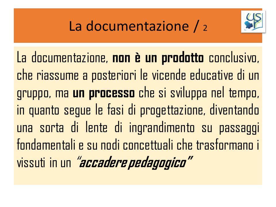 La documentazione / 2 La documentazione, non è un prodotto conclusivo, che riassume a posteriori le vicende educative di un gruppo, ma un processo che