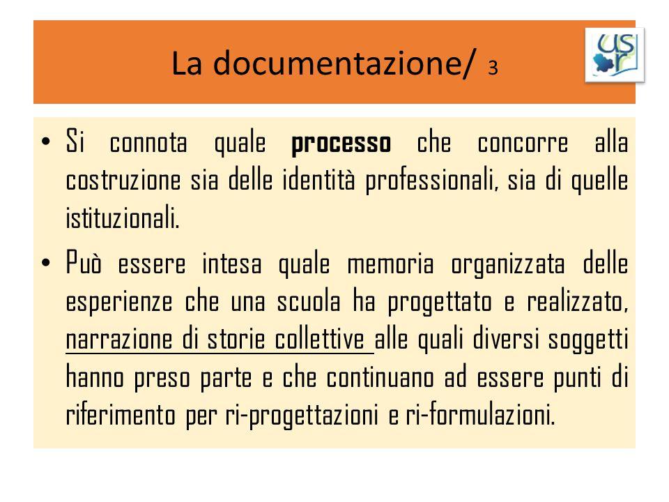 La documentazione/ 3 Si connota quale processo che concorre alla costruzione sia delle identità professionali, sia di quelle istituzionali. Può essere