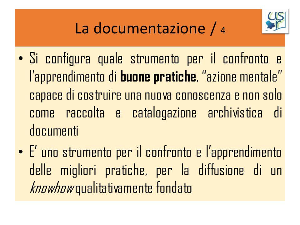 """La documentazione / 4 Si configura quale strumento per il confronto e l'apprendimento di buone pratiche, """"azione mentale"""" capace di costruire una nuov"""