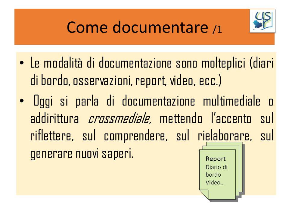 Come documentare /1 Le modalità di documentazione sono molteplici (diari di bordo, osservazioni, report, video, ecc.) Oggi si parla di documentazione