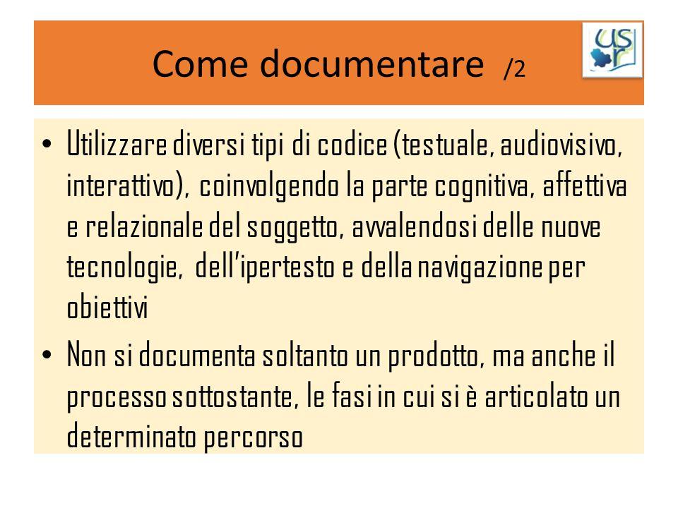 Come documentare /2 Utilizzare diversi tipi di codice (testuale, audiovisivo, interattivo), coinvolgendo la parte cognitiva, affettiva e relazionale d