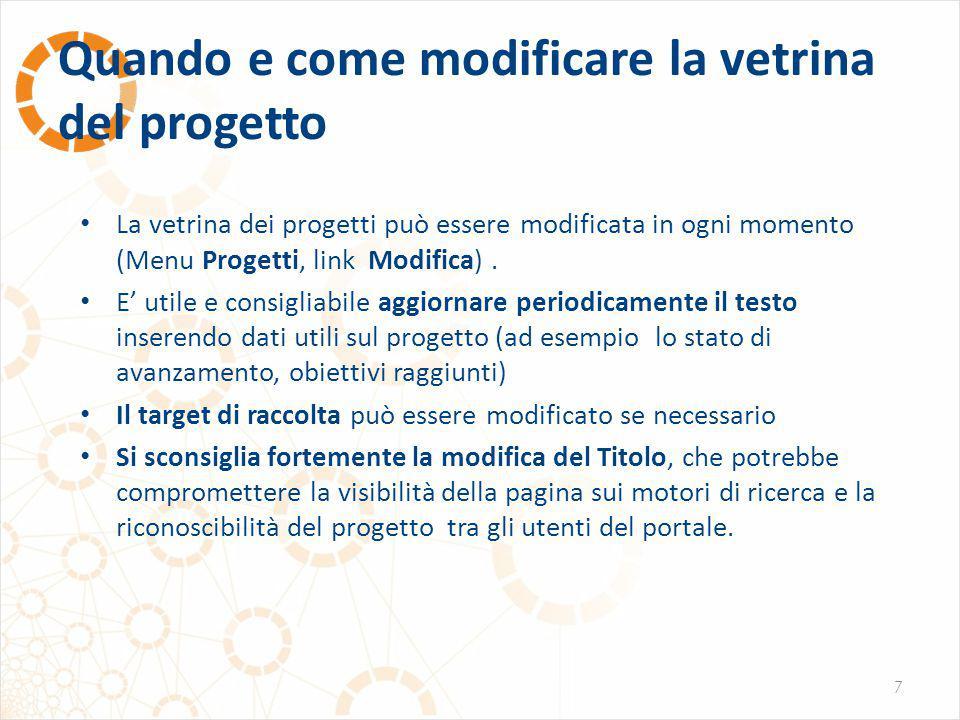 Quando e come modificare la vetrina del progetto 7 La vetrina dei progetti può essere modificata in ogni momento (Menu Progetti, link Modifica).