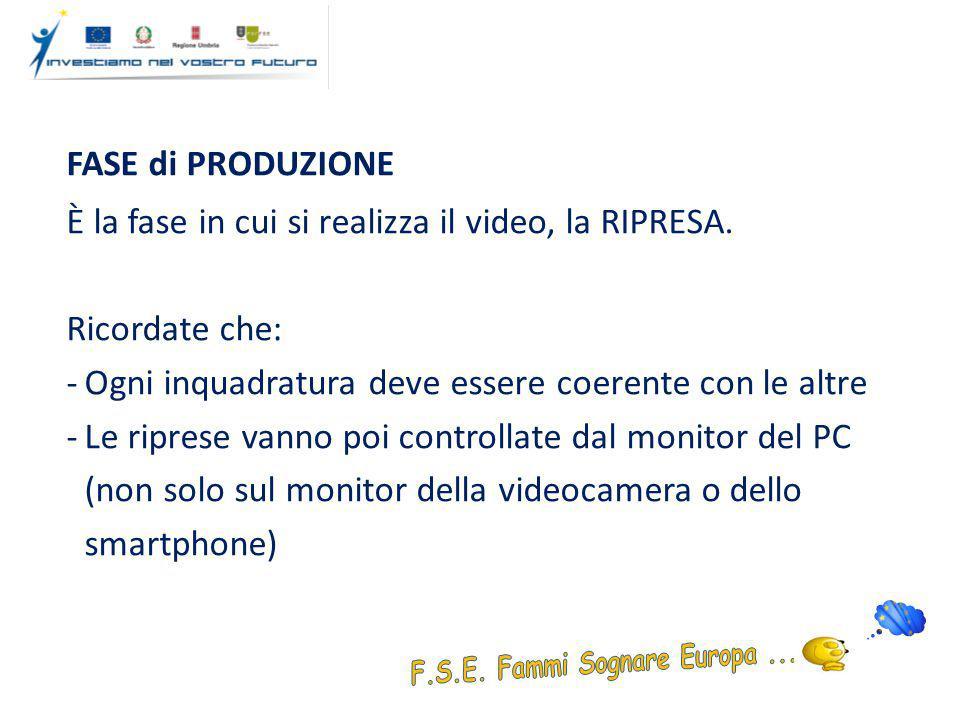 FASE di PRODUZIONE È la fase in cui si realizza il video, la RIPRESA.