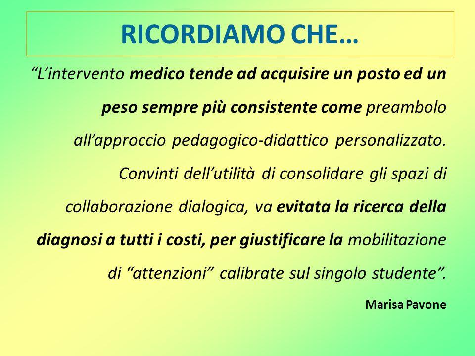 """RICORDIAMO CHE… """"L'intervento medico tende ad acquisire un posto ed un peso sempre più consistente come preambolo all'approccio pedagogico-didattico p"""