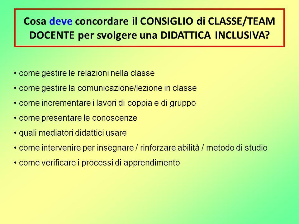 Cosa deve concordare il CONSIGLIO di CLASSE/TEAM DOCENTE per svolgere una DIDATTICA INCLUSIVA? come gestire le relazioni nella classe come gestire la