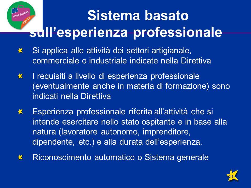 Sistema basato sull'esperienza professionale Si applica alle attività dei settori artigianale, commerciale o industriale indicate nella Direttiva I re