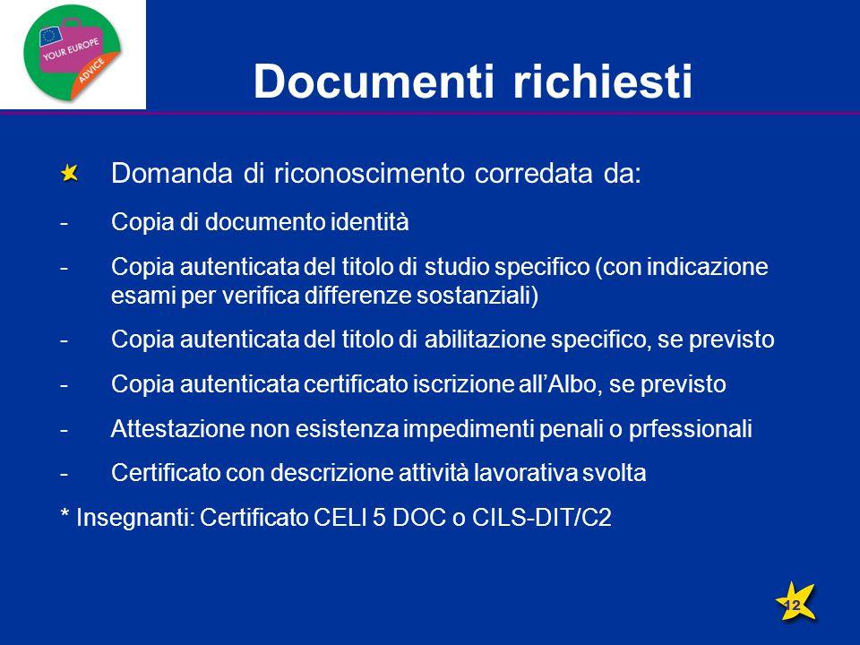 Documenti richiesti Domanda di riconoscimento corredata da: -Copia di documento identità -Copia autenticata del titolo di studio specifico (con indicazione esami per verifica differenze sostanziali) -Copia autenticata del titolo di abilitazione specifico, se previsto -Copia autenticata certificato iscrizione all'Albo, se previsto -Attestazione non esistenza impedimenti penali o prfessionali -Certificato con descrizione attività lavorativa svolta * Insegnanti: Certificato CELI 5 DOC o CILS-DIT/C2 12