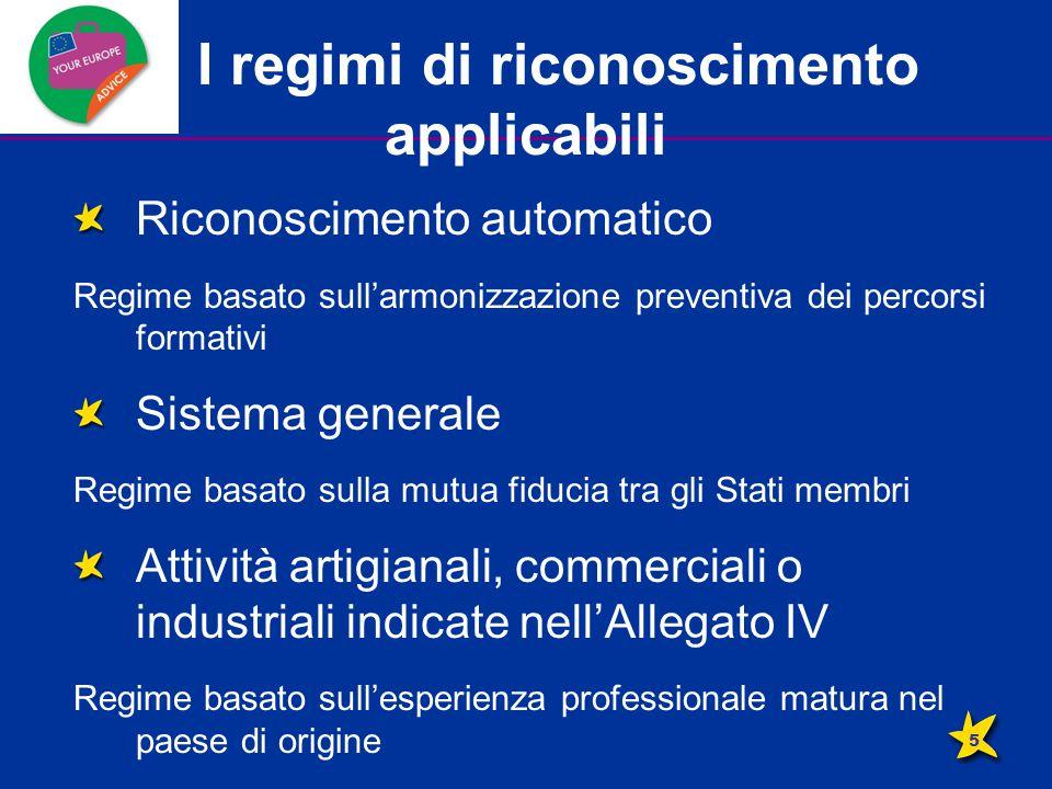 I regimi di riconoscimento applicabili Riconoscimento automatico Regime basato sull'armonizzazione preventiva dei percorsi formativi Sistema generale