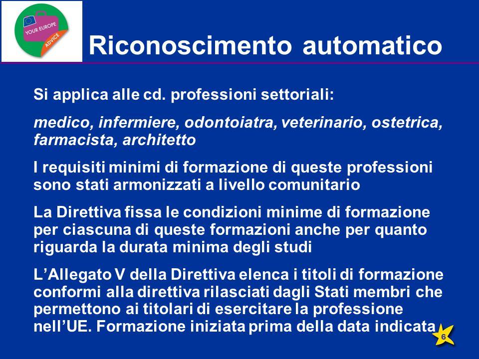 Riconoscimento automatico Si applica alle cd. professioni settoriali: medico, infermiere, odontoiatra, veterinario, ostetrica, farmacista, architetto