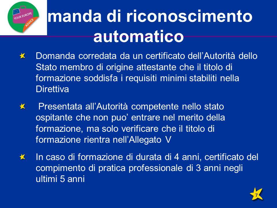 Domanda di riconoscimento automatico Domanda corredata da un certificato dell'Autorità dello Stato membro di origine attestante che il titolo di forma