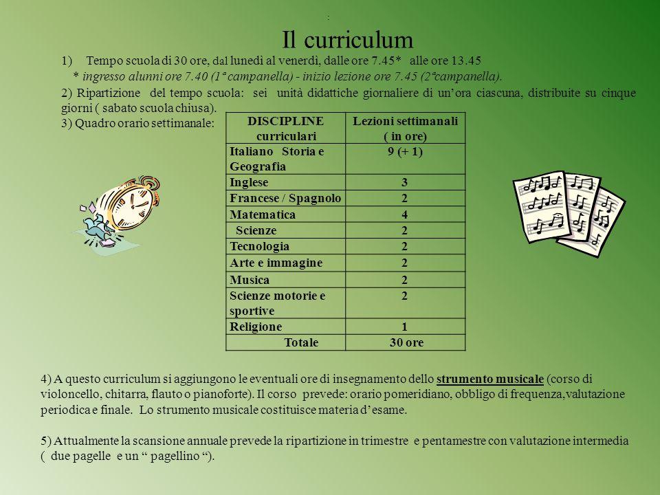 : Il curriculum 1)Tempo scuola di 30 ore, dal lunedì al venerdì, dalle ore 7.45* alle ore 13.45 * ingresso alunni ore 7.40 (1ª campanella) - inizio le