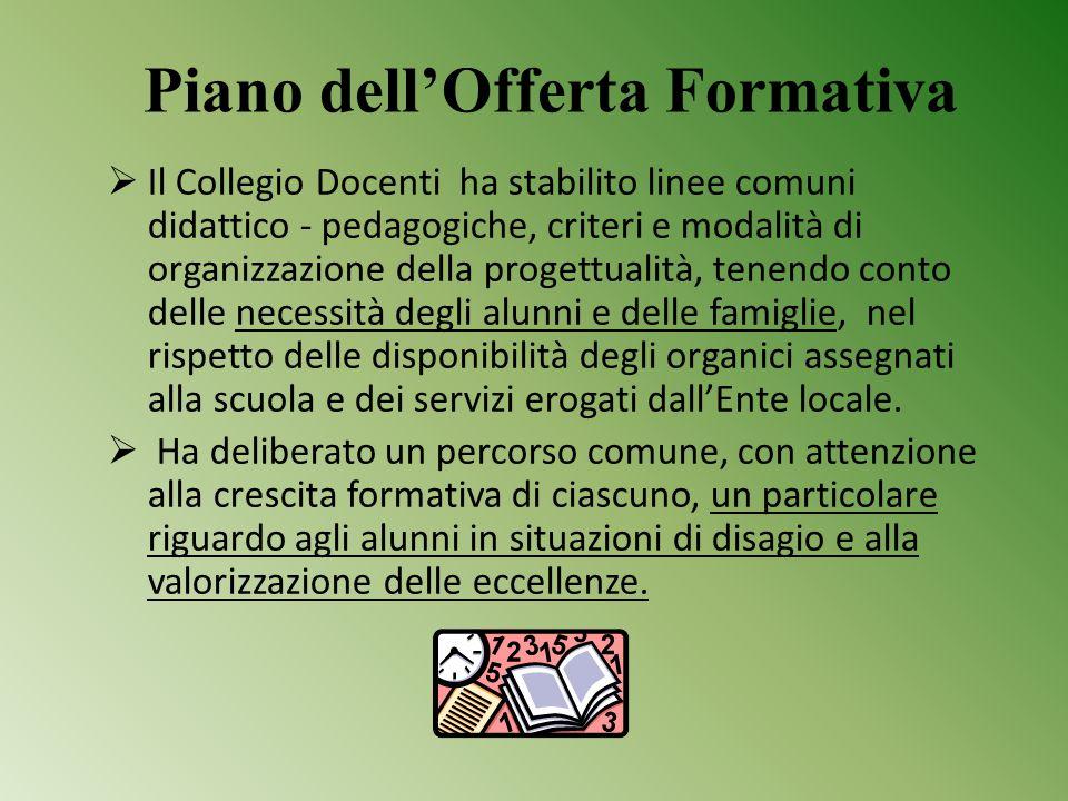Piano dell'Offerta Formativa  Il Collegio Docenti ha stabilito linee comuni didattico - pedagogiche, criteri e modalità di organizzazione della proge