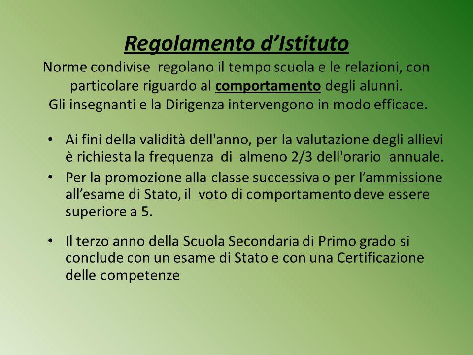 Regolamento d'Istituto Norme condivise regolano il tempo scuola e le relazioni, con particolare riguardo al comportamento degli alunni. Gli insegnanti