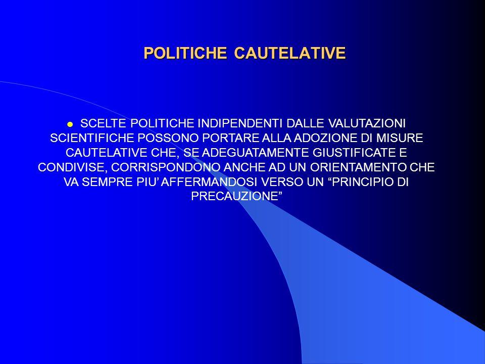 POLITICHE CAUTELATIVE l SCELTE POLITICHE INDIPENDENTI DALLE VALUTAZIONI SCIENTIFICHE POSSONO PORTARE ALLA ADOZIONE DI MISURE CAUTELATIVE CHE, SE ADEGUATAMENTE GIUSTIFICATE E CONDIVISE, CORRISPONDONO ANCHE AD UN ORIENTAMENTO CHE VA SEMPRE PIU' AFFERMANDOSI VERSO UN PRINCIPIO DI PRECAUZIONE
