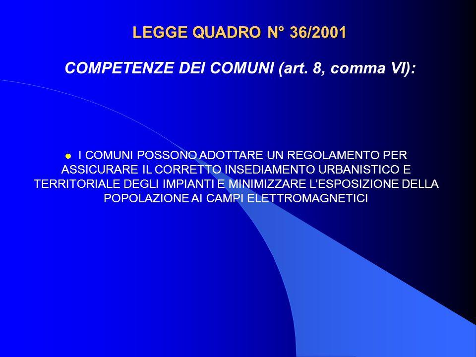 LEGGE QUADRO N° 36/2001 COMPETENZE DEI COMUNI (art. 8, comma VI): l I COMUNI POSSONO ADOTTARE UN REGOLAMENTO PER ASSICURARE IL CORRETTO INSEDIAMENTO U