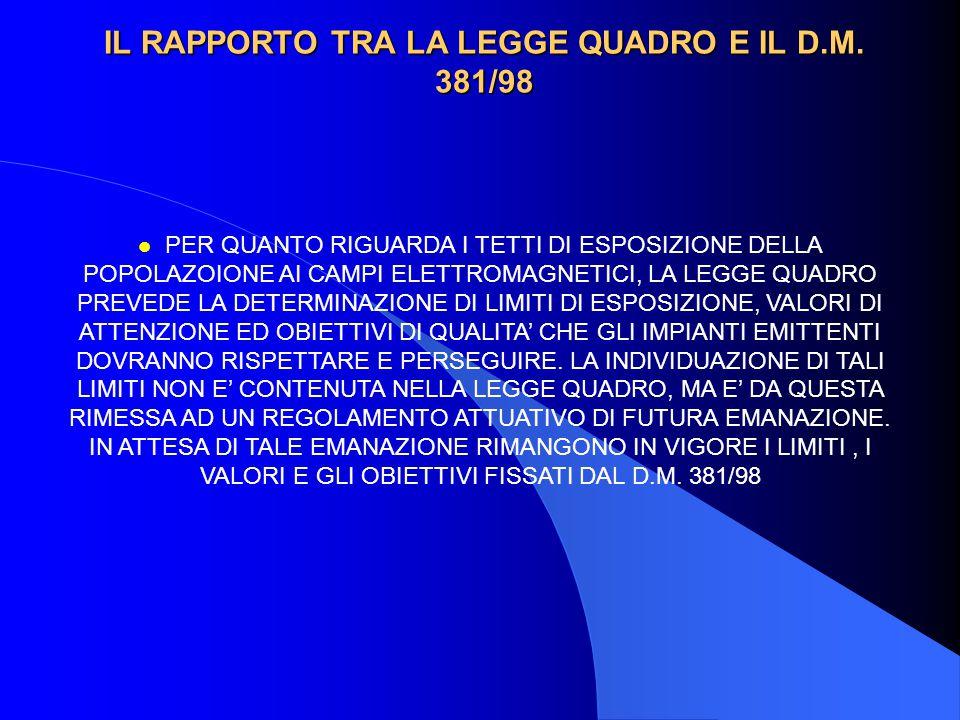 LEGGE 36/2001: RAPPORTO CON LEGGE 249/97 E LICENZE UMTS l SIA L.249/97 (LEGGE ISTITUTIVA DELL'AUTHORITY TLC) CHE L.36/2001 ED ANCHE LE LICENZE UMTS 2001 PREVEDONO CHE: LE CONCESSIONI DI RADIODIFFUSIONE PREVISTE NEL PIANO DI ASSEGNAZIONE COSTITUISCONO DICHIARAZIONE DI PUBBLICA UTILITA', INDIFFERIBILITA' ED URGENZA DELLE OPERE .