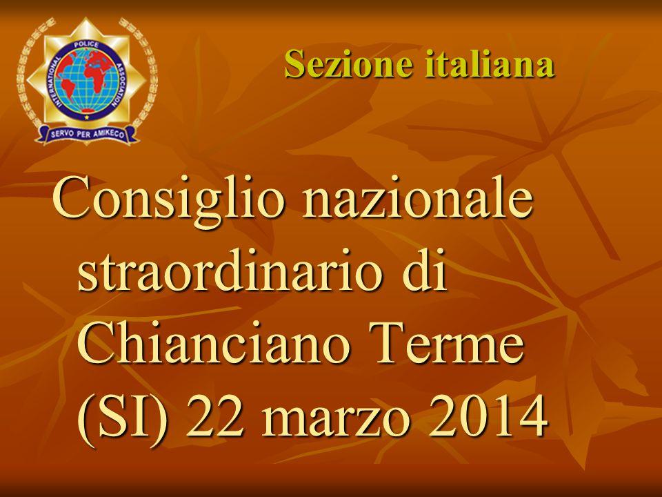 Sezione italiana Consiglio nazionale straordinario di Chianciano Terme (SI) 22 marzo 2014