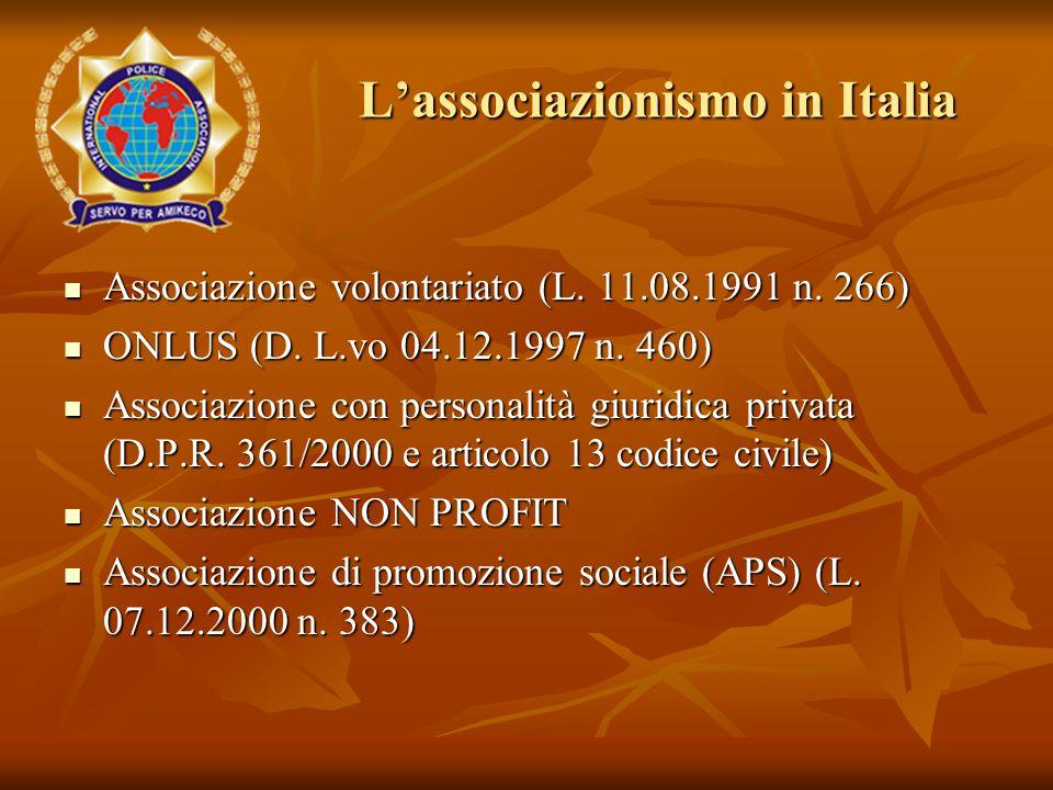 L'associazionismo in Italia Associazione volontariato (L. 11.08.1991 n. 266) Associazione volontariato (L. 11.08.1991 n. 266) ONLUS (D. L.vo 04.12.199