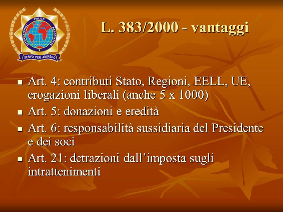Art. 4: contributi Stato, Regioni, EELL, UE, erogazioni liberali (anche 5 x 1000) Art.