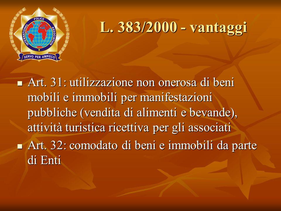 Art. 31: utilizzazione non onerosa di beni mobili e immobili per manifestazioni pubbliche (vendita di alimenti e bevande), attività turistica ricettiv