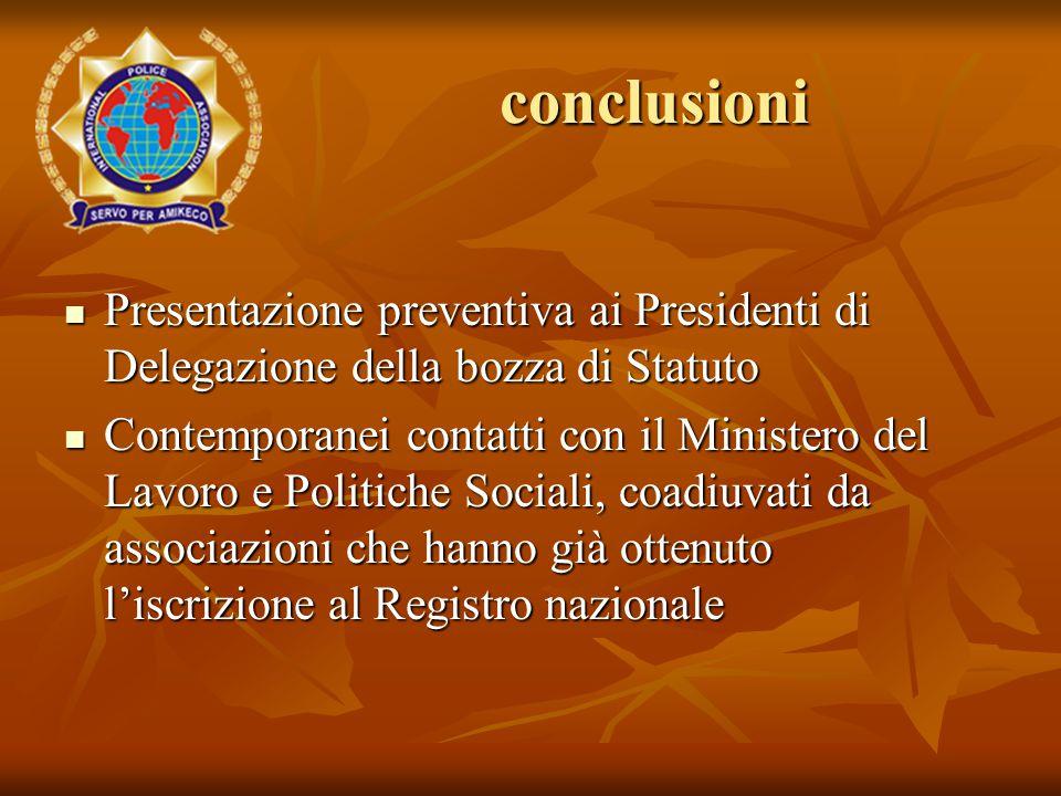 Presentazione preventiva ai Presidenti di Delegazione della bozza di Statuto Presentazione preventiva ai Presidenti di Delegazione della bozza di Stat