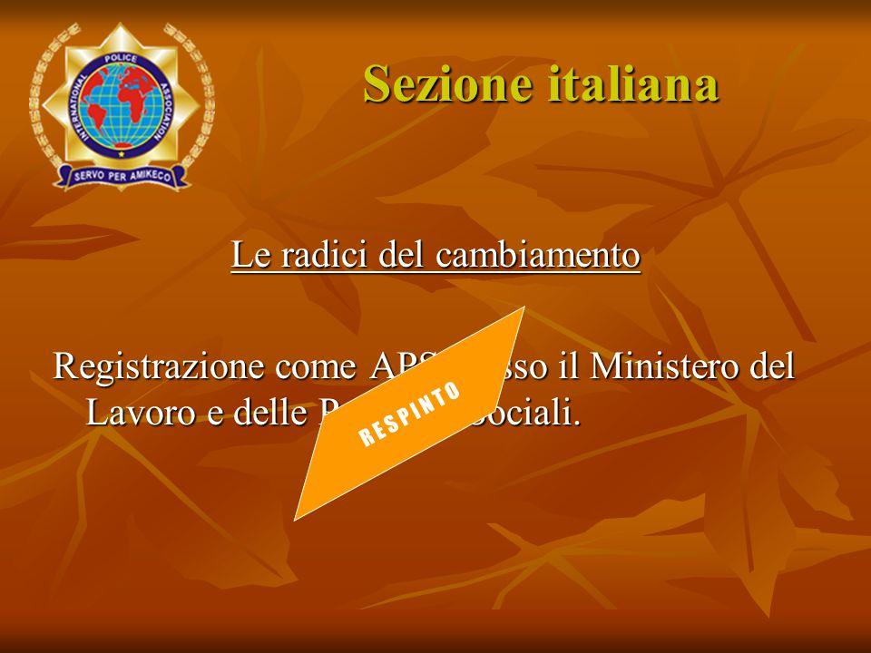Le radici del cambiamento Registrazione come APS presso il Ministero del Lavoro e delle Politiche Sociali. R E S P I N T O Sezione italiana