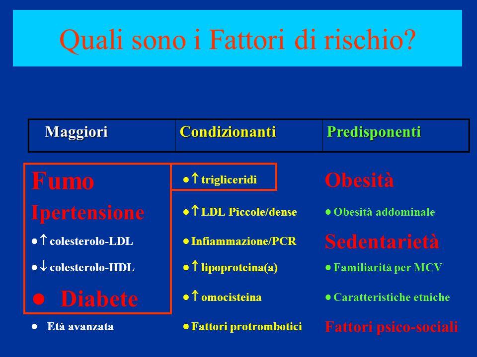 Fumo ●  trigliceridi Obesità Ipertensione ●  LDL Piccole/dense ●Obesità addominale ●  colesterolo-LDL ●Infiammazione/PCR Sedentarietà ●  colestero