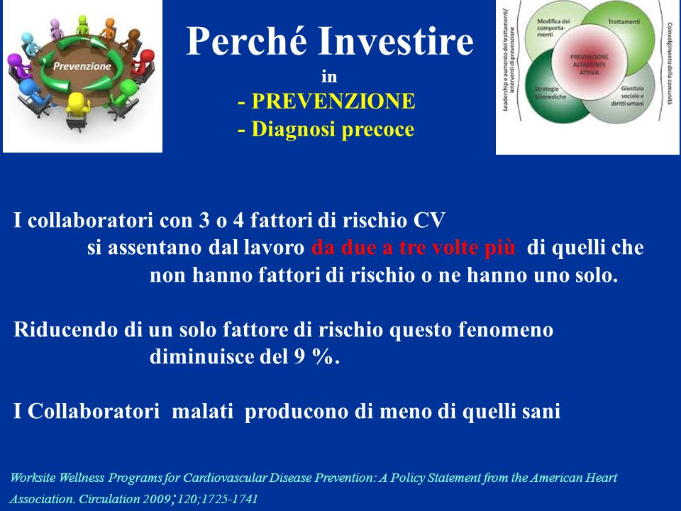 Perché Investire in - PREVENZIONE - Diagnosi precoce Worksite Wellness Programs for Cardiovascular Disease Prevention: A Policy Statement from the Ame
