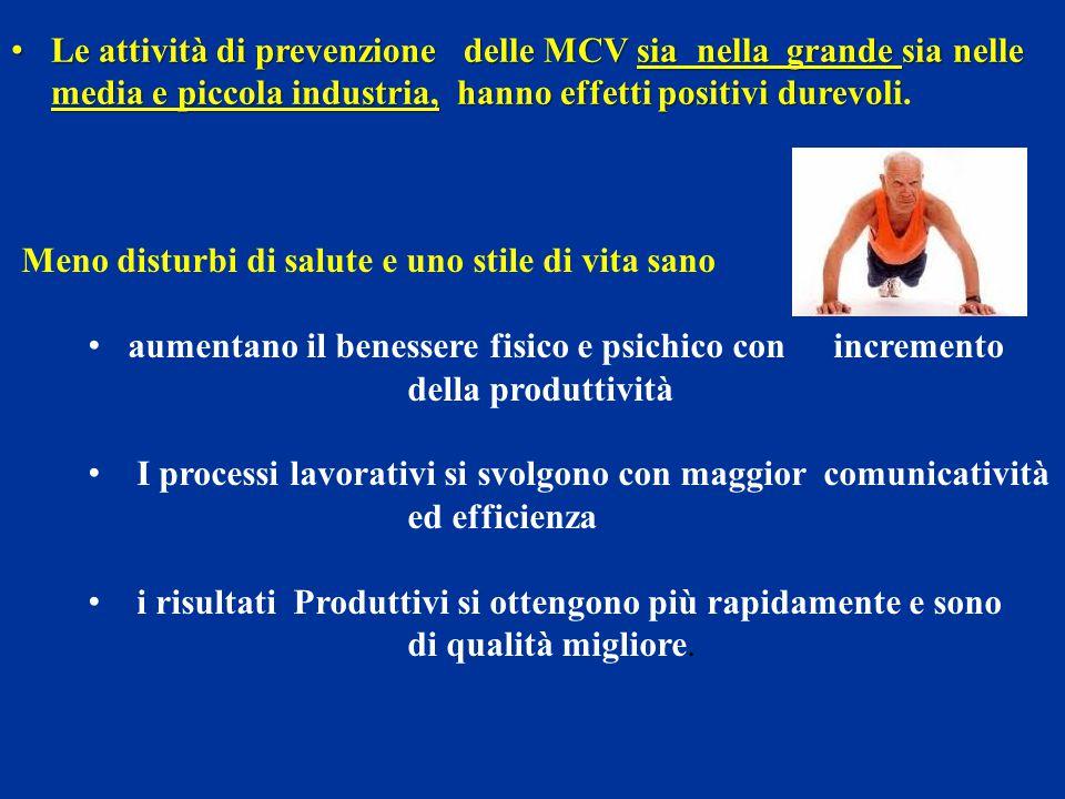 Meno disturbi di salute e uno stile di vita sano aumentano il benessere fisico e psichico con incremento della produttività I processi lavorativi si s