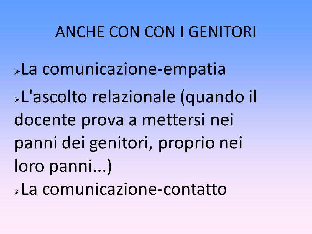 ANCHE CON CON I GENITORI  La comunicazione-empatia  L ascolto relazionale (quando il docente prova a mettersi nei panni dei genitori, proprio nei loro panni...)  La comunicazione-contatto
