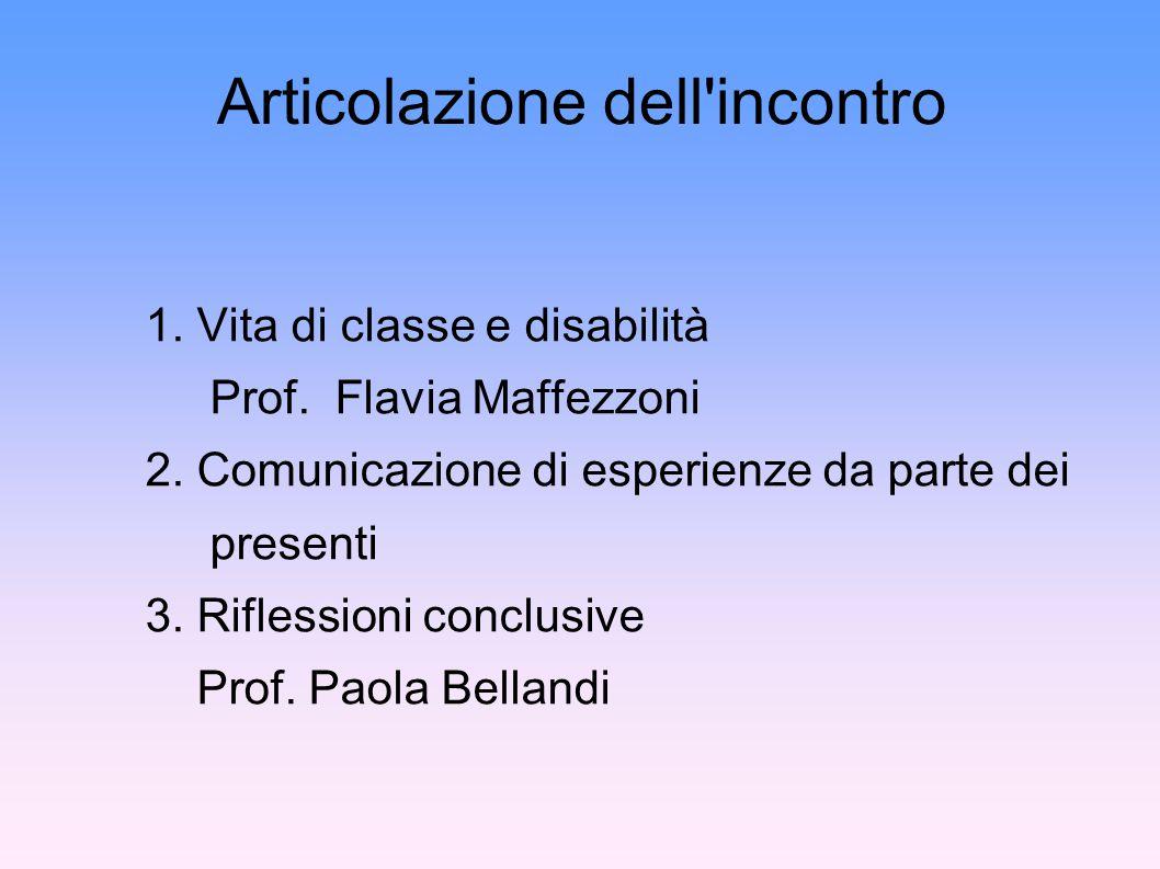 Articolazione dell incontro 1. Vita di classe e disabilità Prof.